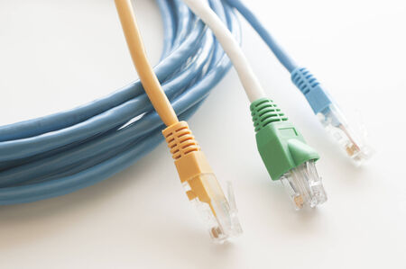 jacks: Network Cables one white background Stock Photo
