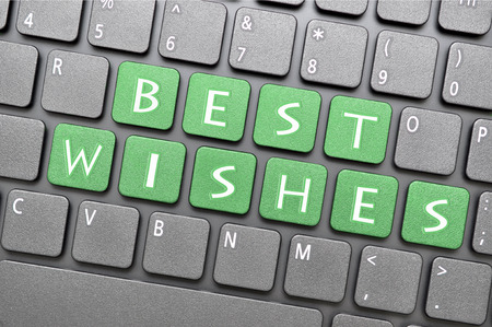 best: Green best wishes on keyboard
