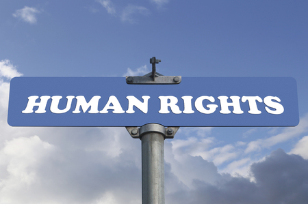 human rights: Human rights road sign Stock Photo