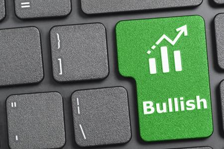 bullish: Green bullish key on keyboard Stock Photo