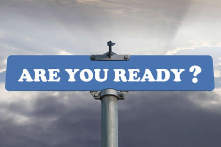 ready: Are you ready road sign Stock Photo