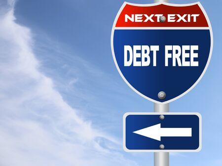 Debt free road sign Stok Fotoğraf