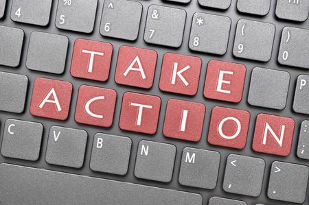 take action: Red take action key on keyboard