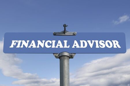 Financial advisor road sign Zdjęcie Seryjne