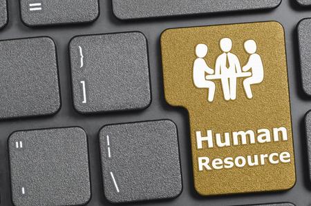 resource: Brown human resource key on keyboard Stock Photo