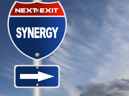 synergy: Synergy road sign Stock Photo