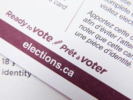 Close up federal elections ballot