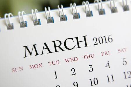 calendrier: Close up calendrier de Mars 2016