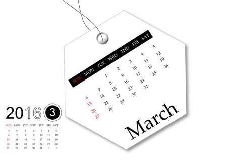 March 2016 - Calendar series for tag design