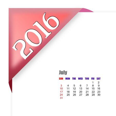 calendario julio: Calendario julio 2016