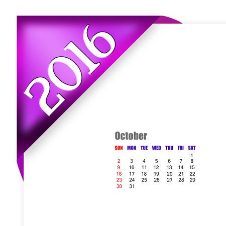 october calendar: CALENDARIO Octubre 2016