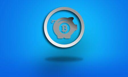 p2p: Saving bitcoin symbol on blue background Stock Photo