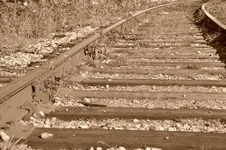 railway tracks: Close up old railway tracks Stock Photo