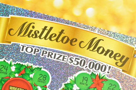 sanctioned: Coquitlam BC Canada - December 19, 2015 : Close up lottery ticket. The British Columbia Lottery Corporation has provided government sanctioned lottery games in British Columbia since 1985. Editorial