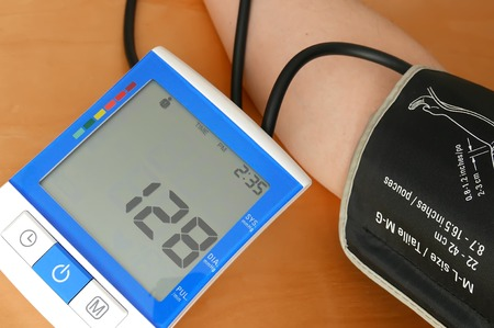 systolic: Close up blood pressure displayed on monitor