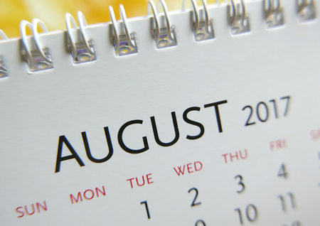 Close up calendar of August 2017 Imagens