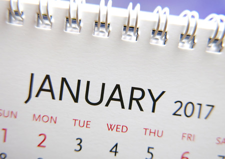 Close up calendar of January 2017