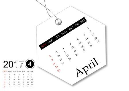 April 2017 - Calendar series for tag design
