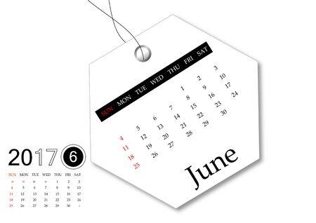 June 2017 - Calendar series for tag design Stok Fotoğraf
