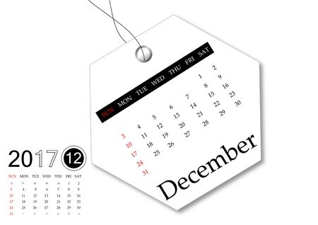 December 2017 - Calendar series for tag design Stock Photo