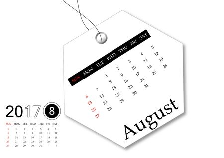 August 2017 - Calendar series for tag design Stock Photo