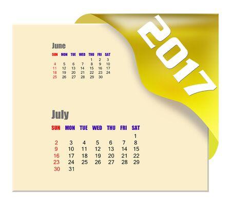calendario julio: 2017 July calendar Foto de archivo