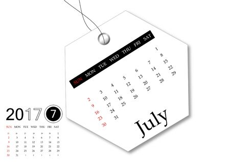 July 2017 - Calendar series for tag design Banco de Imagens