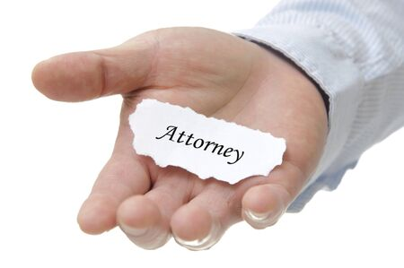 Business man holding atorney note on hand