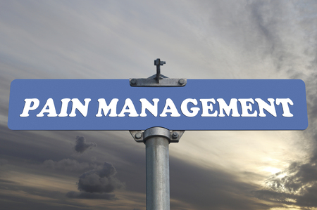 Pain management road sign Stock Photo
