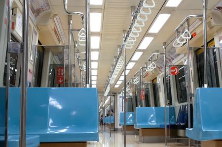 Taipei, Taiwan - December 02, 2017 : Motion of passenger taking mass rapid transit in Taipei Taiwan Banco de Imagens