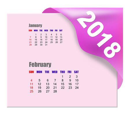 2018 February calendar Archivio Fotografico