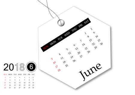 June 2018 - Calendar series for tag design