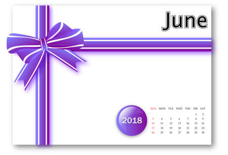 June 2018 - Calendar series with gift ribbon design Banque d'images