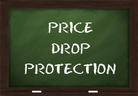 Price drop protection sign on chalkboard