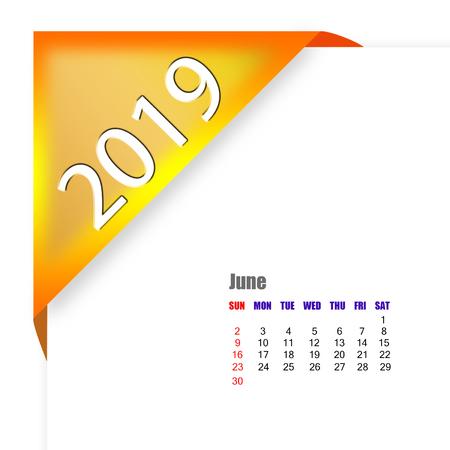 2019 June calendar