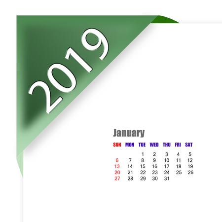 2019 January calendar