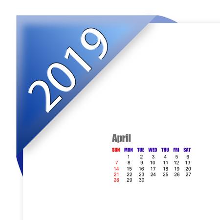 2019 April calendar Zdjęcie Seryjne