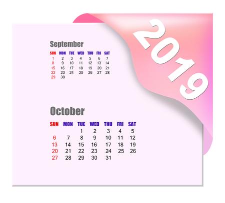 2019 October calendar Zdjęcie Seryjne