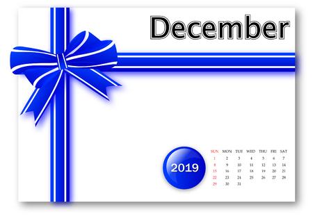 December 2019 - Calendar series with gift ribbon design Zdjęcie Seryjne