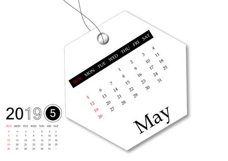 May 2019 - Calendar series for tag design Zdjęcie Seryjne
