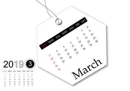March 2019 - Calendar series for tag design