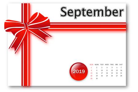 September 2018 - Calendar series with gift ribbon design
