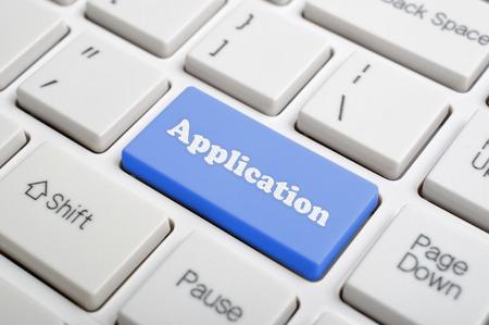 Blue application key on keyboard