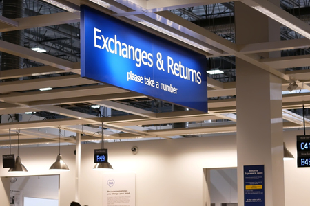 Close up exchanges and returns sign inside Ikea store Editoriali