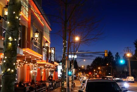 Outside shot of Browns socialhouse restaurant at night in Coquitlam BC Canada Stok Fotoğraf