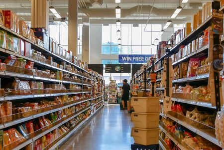 Burnaby, BC, Canada - May 09, 2019 : Motion of people buying foods inside price smart foods store Archivio Fotografico - 137901200