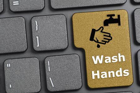 Wash hands key on keyboard Archivio Fotografico - 144337986
