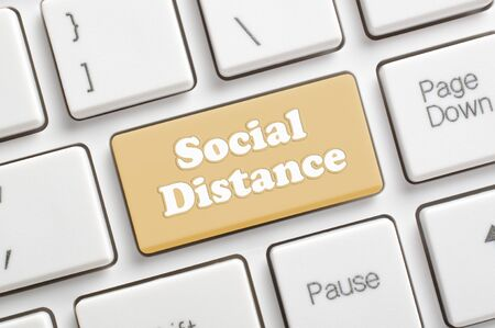 Social distance key on keyboard Archivio Fotografico - 144338080