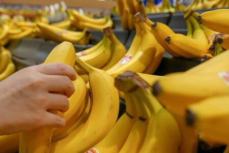 Motion of woman's hand picking bananas inside superstore Archivio Fotografico - 147603817