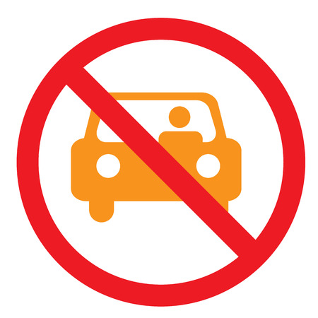 Circle Prohibited Sign For No Car or No Parking Sign Vector